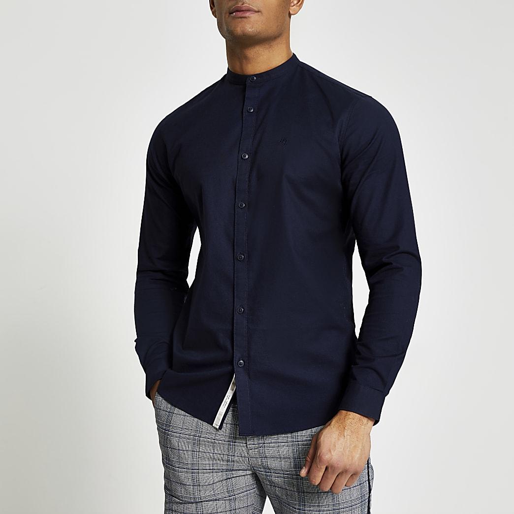 Marineblauw muscle-fit Oxfordoverhemd zonder kraag