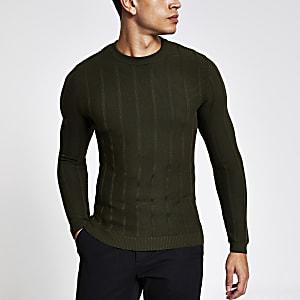 Kaki gebreide aansluitende pullover met ribbels