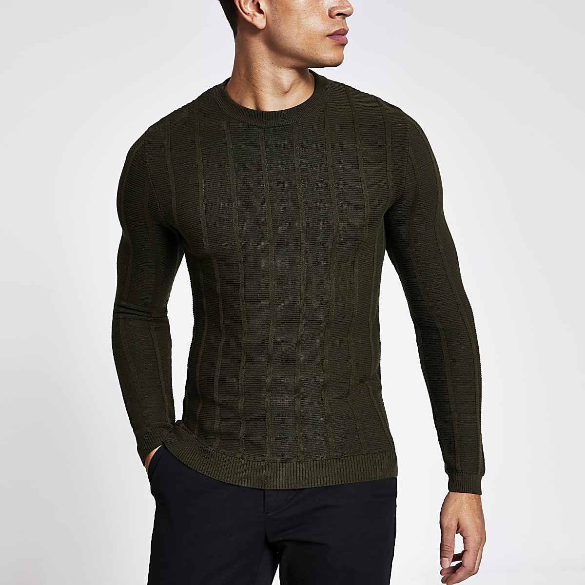 Khaki muscle fit rib knitted jumper