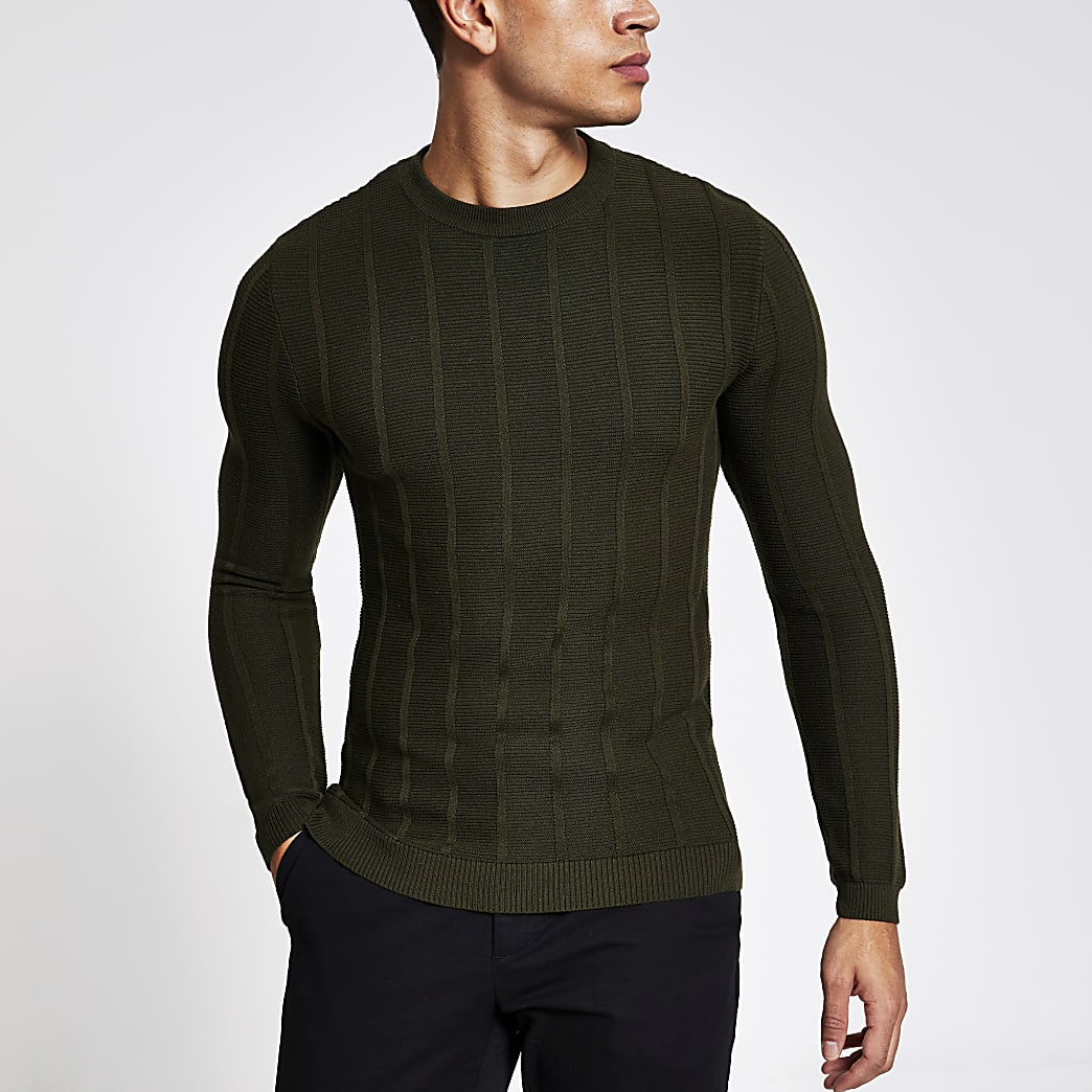 Muscle Fit Rippstrickpullover in Khaki