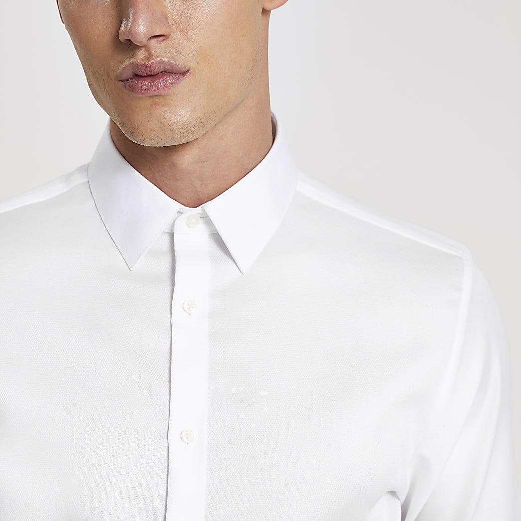 Wit slim-fit overhemd van Egyptisch katoen