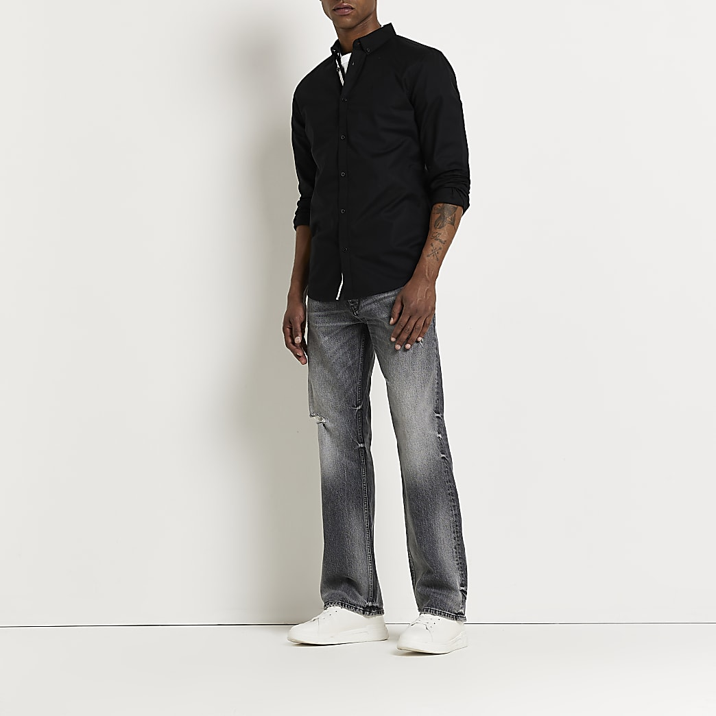 Maison Riviera black slim fit Oxford shirt