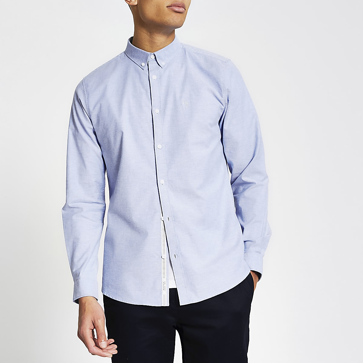 Blue slim fit long sleeve Oxford shirt