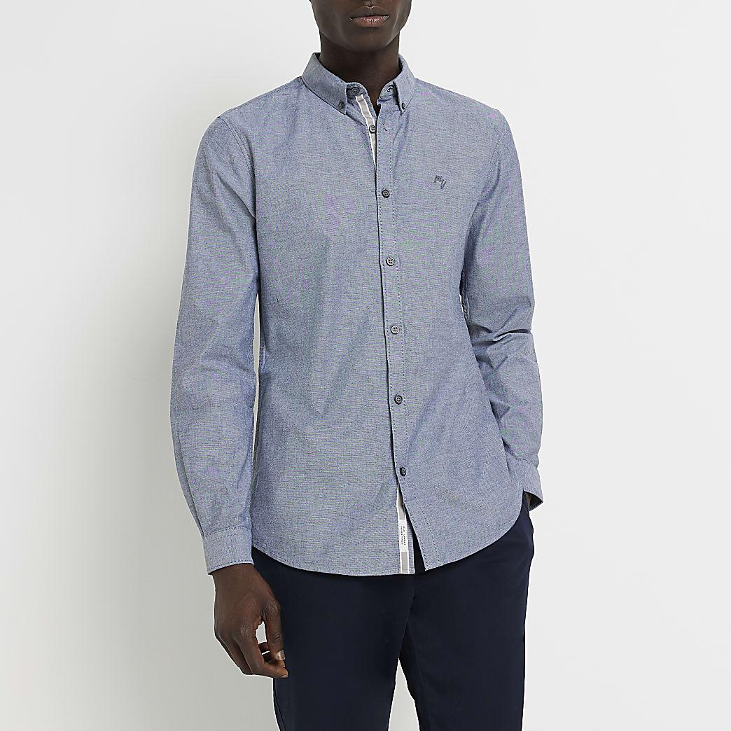Maison Riviera grey slim fit Oxford shirt