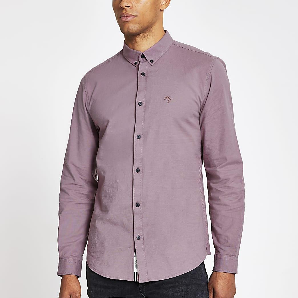 Paars slim-fit Oxford overhemd met lange mouwen