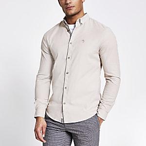 Kiezelkleurig slim-fit Oxford overhemd met lange mouwen