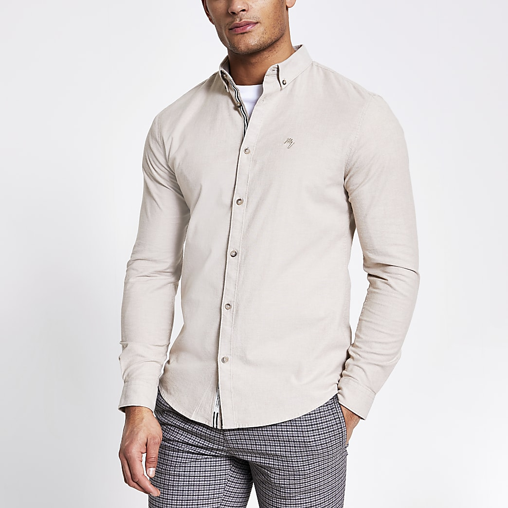Maison Riviera stone slim fit Oxford shirt