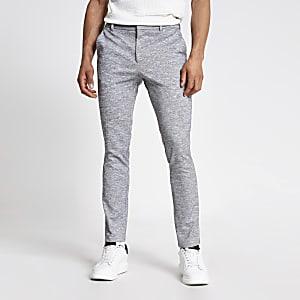 Graue, elegante Skinny Fit Hose mit Struktur