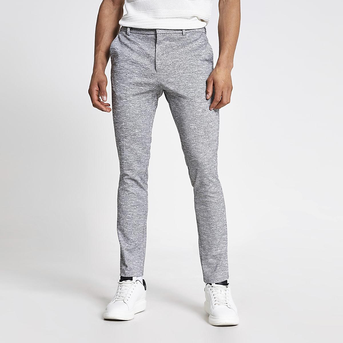 Pantalon habillé ultraskinny texturé gris
