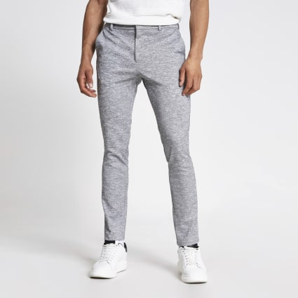 Grey textured skinny fit smart trousers