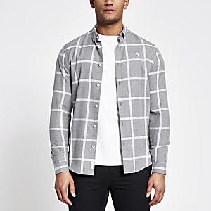 Maison Riviera–Kariertes Slim Fit T-Shirt in Grau