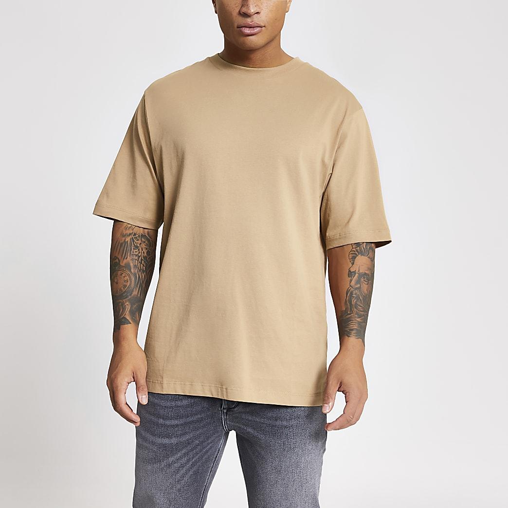 T-shirt oversize marron à manches courtes