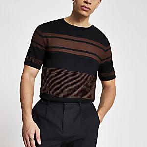 Schwarzes, gestreiftes Slim Fit Strick-T-Shirt in Blockfarben