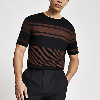 Black stripe blocked slim fit knit T-shirt