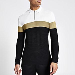 Schwarzes Strick-Poloshirt in Blockfarbe mit kurzem Reißverschluss