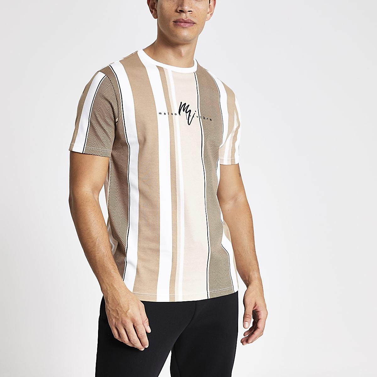 Maison Riviera brown stripe slim fit T-shirt
