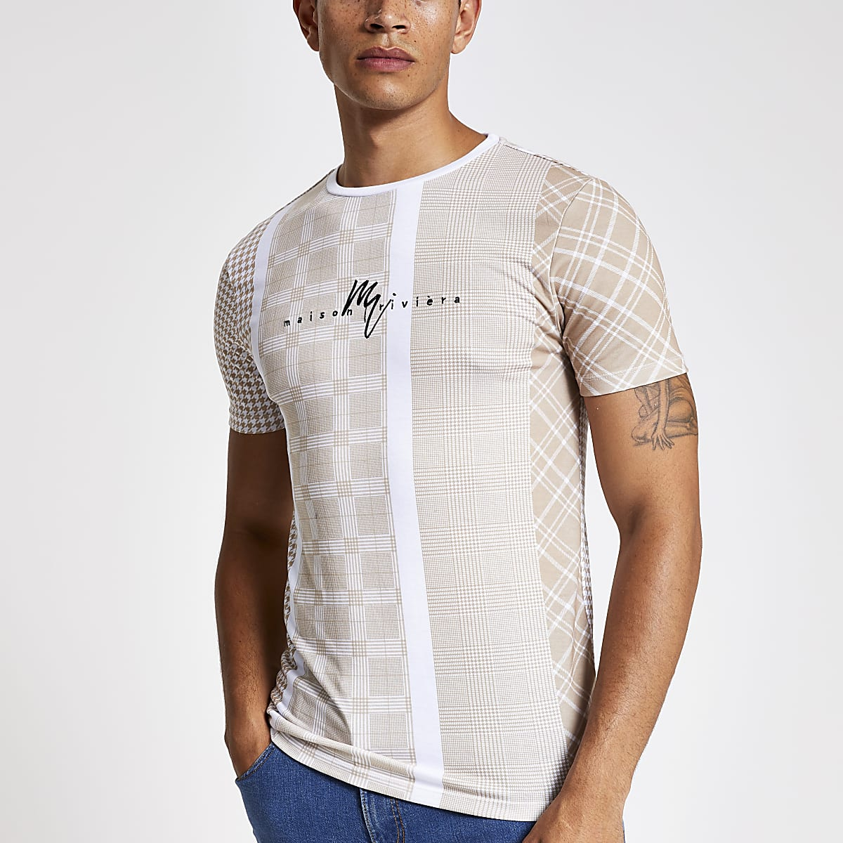 Maison Riviera brown check muscle fit T-shirt