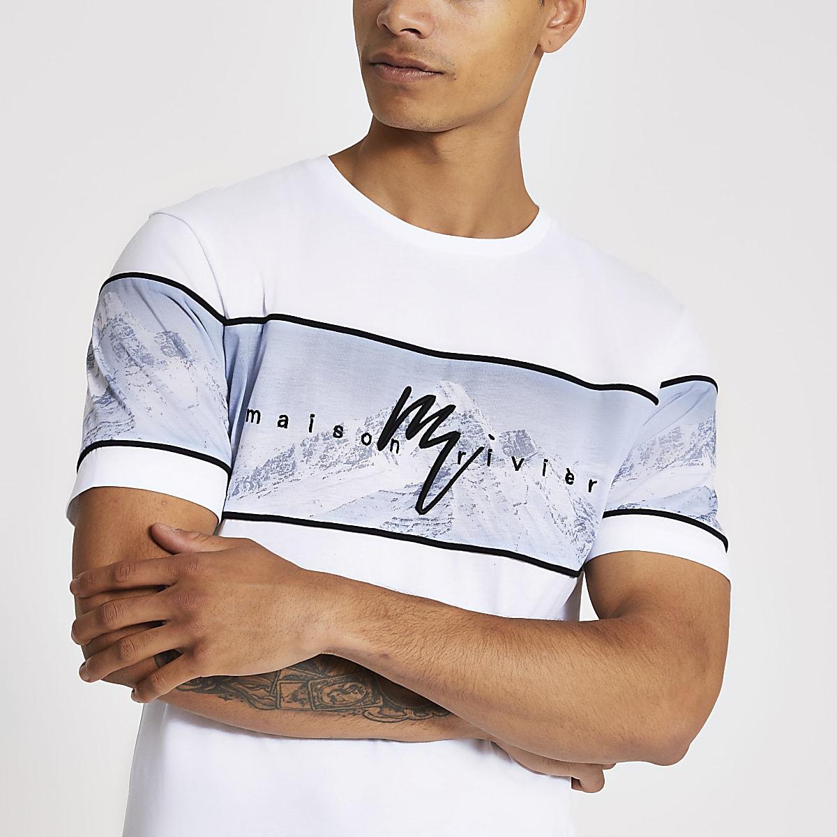 White Maison Riviera printed slim fit T-shirt