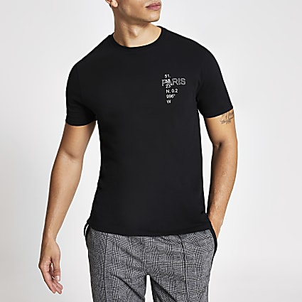 Black printed slim fit short sleeve T-shirt