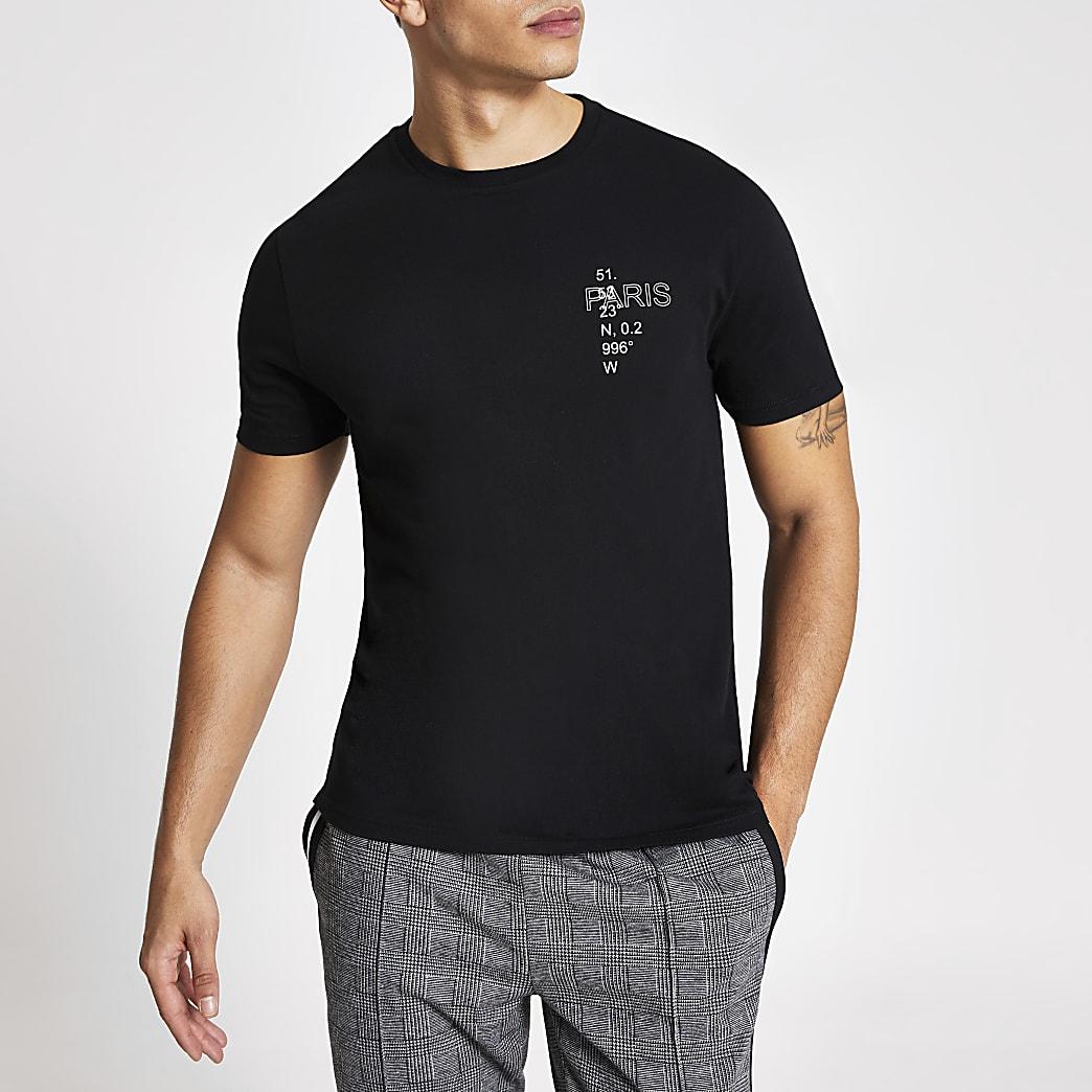 Kurzärmliges Slim-Fit-T-Shirt mit Print in Schwarz
