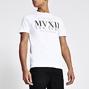 "Weißes T-Shirt ""MVXII"" im Slim Fit"