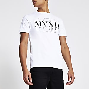 T-shirt slim blanc« MVXII » à manches courtes