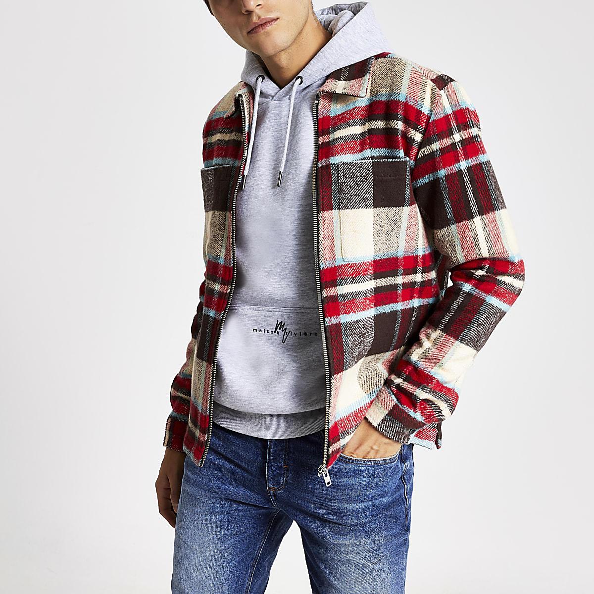 Ecru check regular fit zip overshirt