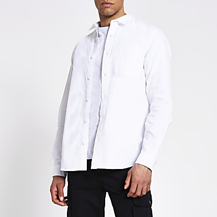 White regular fit long sleeve utility shirt