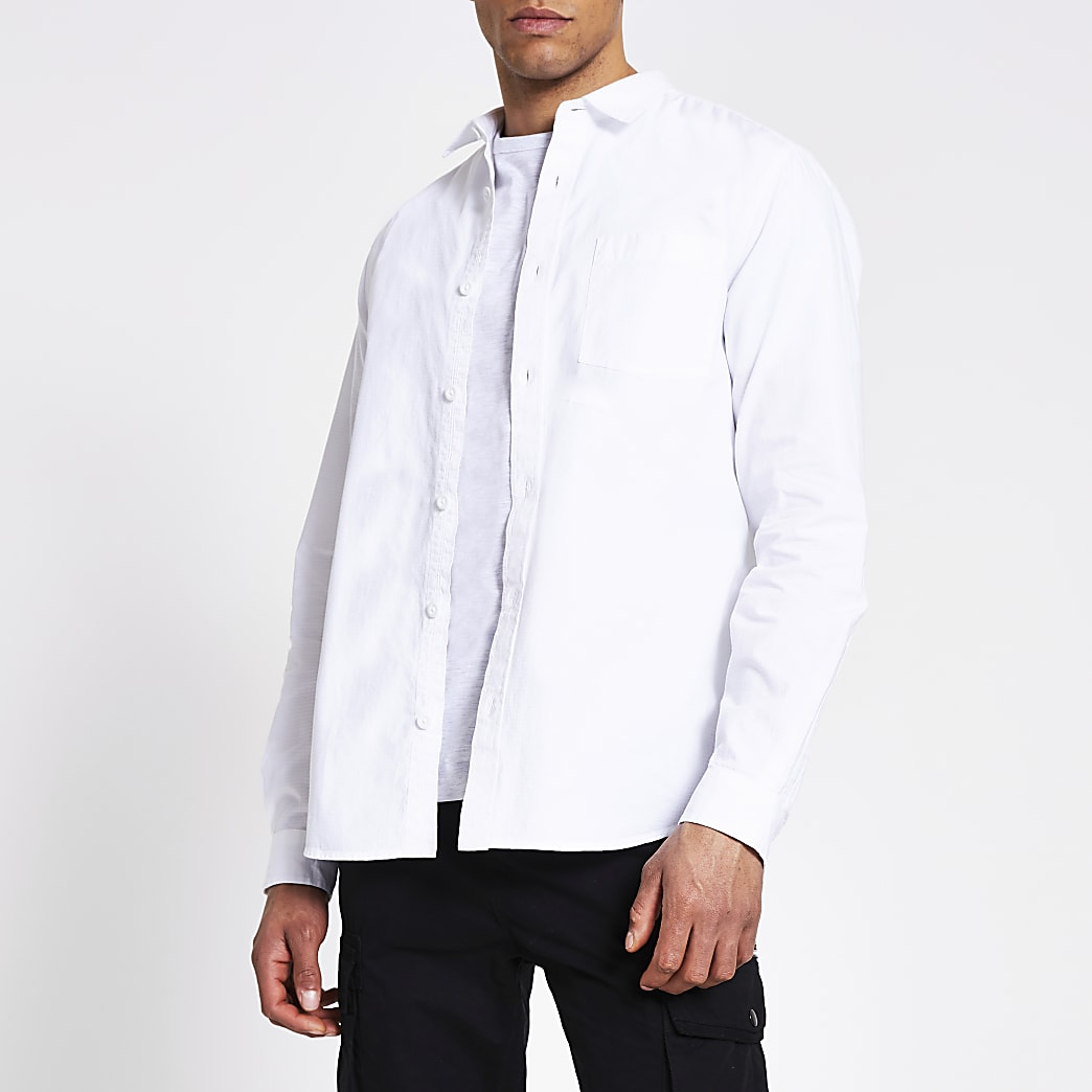 White regular fit utility overshirt
