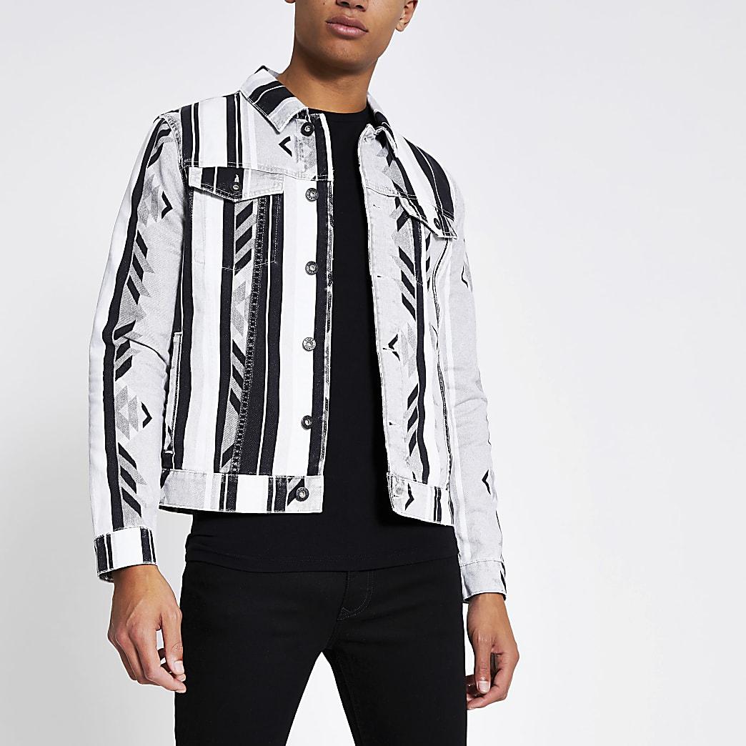 Grey aztec print classic fit denim jacket