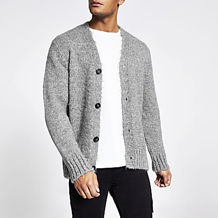 Grey long sleeve slim fit knitted cardigan