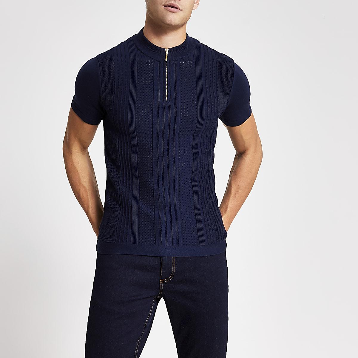 Marineblauw gebreid slim-fit T-shirt met halve ritssluiting