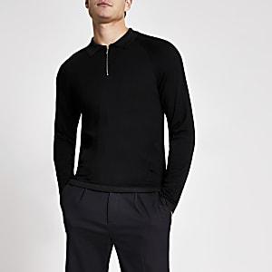 Schwarzes Strick-Poloshirt im Slim Fit mit kurzem Reißverschluss