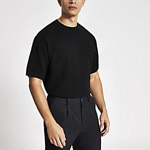 Zwart oversized gebreid T-shirt met korte mouwen