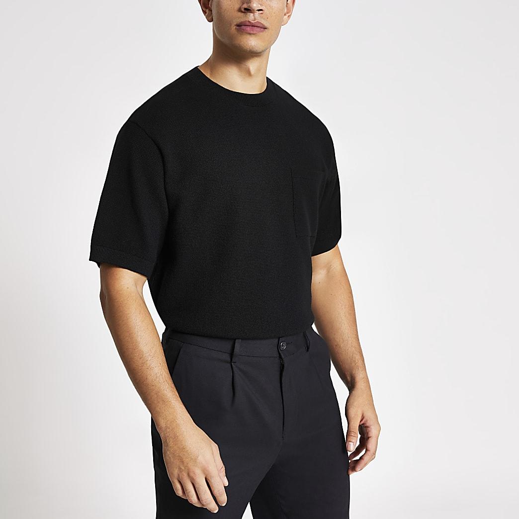 T-shirt en maille noir oversize à manches courtes