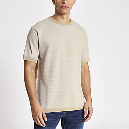 Stone short sleeve oversized knitted T-shirt