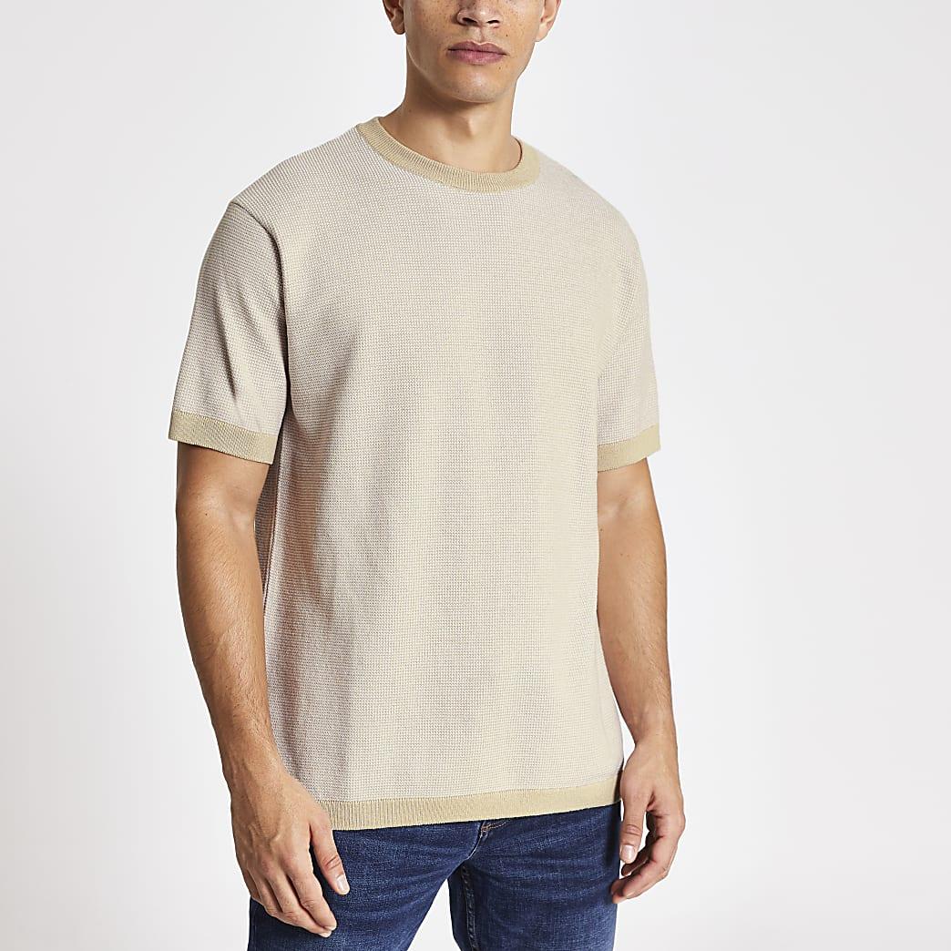 T-shirt oversize en maille grègeà manches courtes
