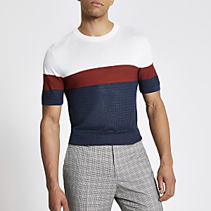 T-shirt slim en maille bleu colour block