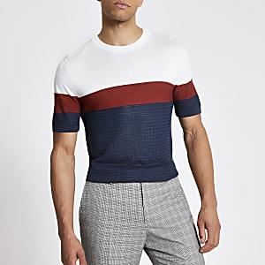 Blauw gebreid slim-fit T-shirt met kleurvlakken