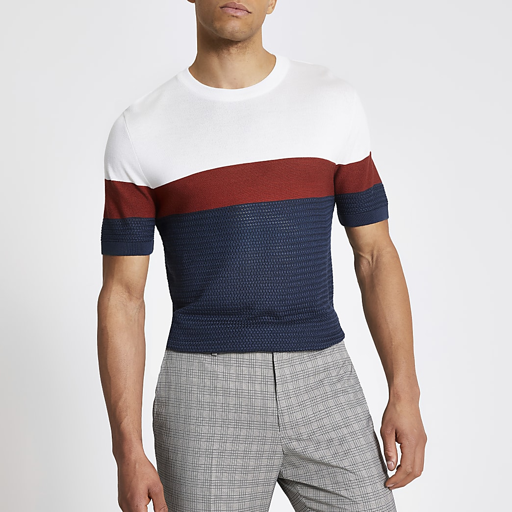 Blue colour blocked slim fit knitted T-shirt