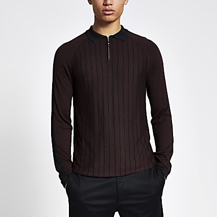 Purple pinstripe half zip knitted polo shirt