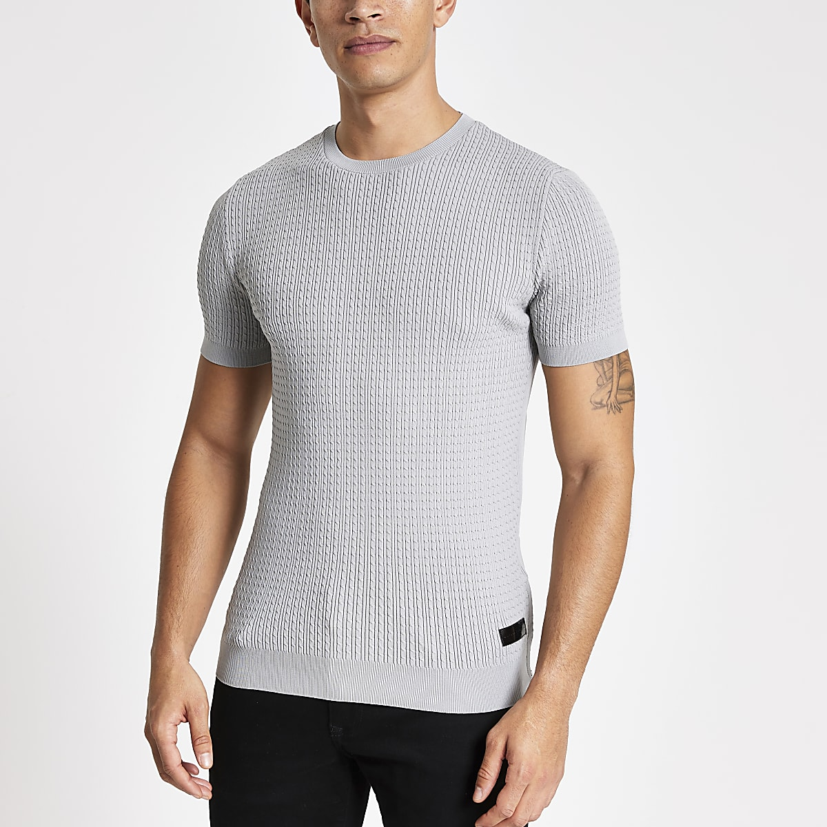Grey muscle fit cable knitted T-shirt