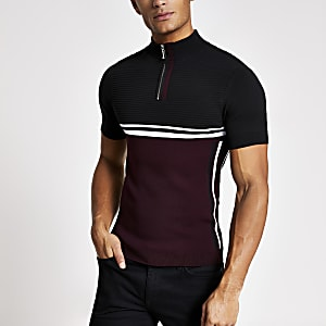 Rottes Strick-T-Shirt im Muscle Fit mit kurzem Reißverschluss