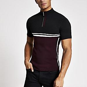 Rood aansluitend gebreid T-shirt met halve ritssluiting