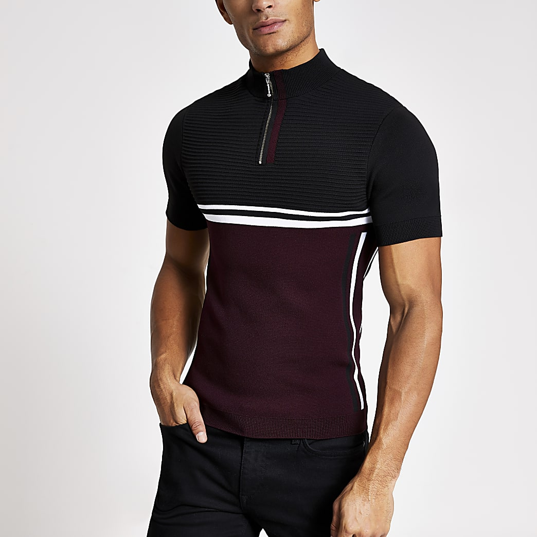 Red muscle fit half zip knitted T-shirt