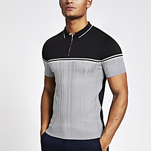 Marineblaues Muscle Fit Strick-Poloshirt in Blockfarben