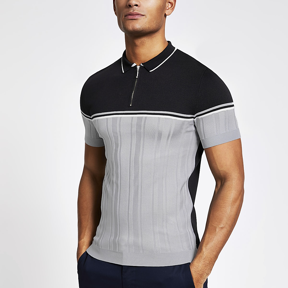 Navy blocked muscle fit knitted polo shirt