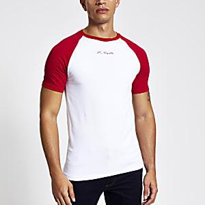 T-shirt blancR96à manches raglan