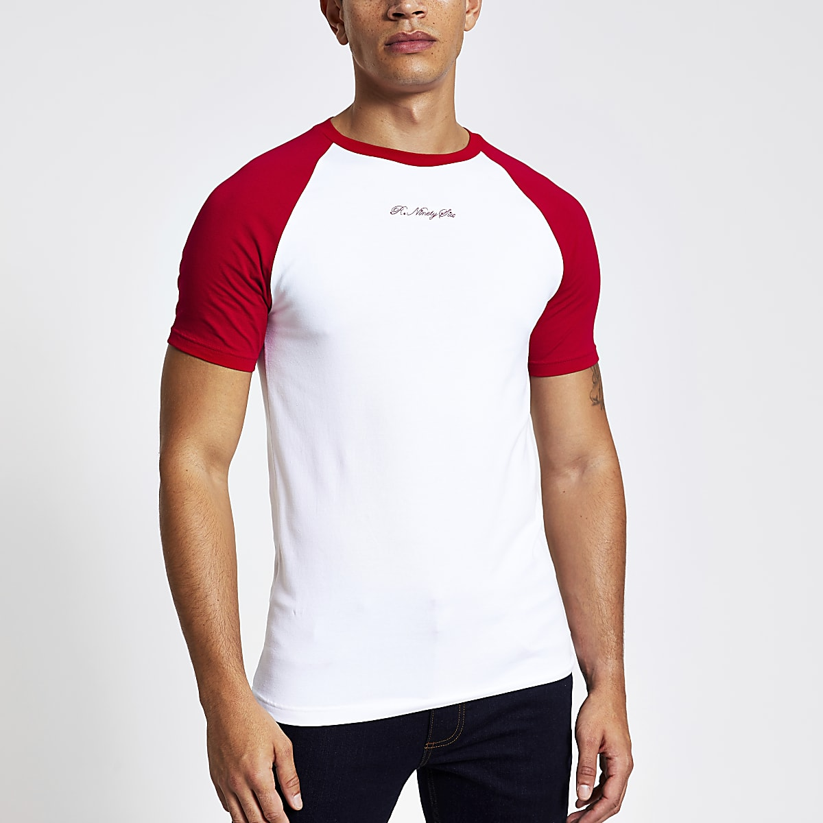 White R96 raglan muscle fit T-shirt