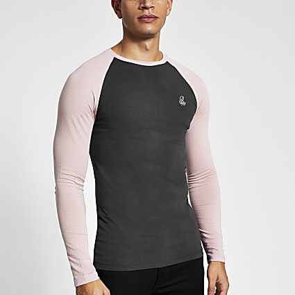 R96 grey raglan muscle fit T-shirt